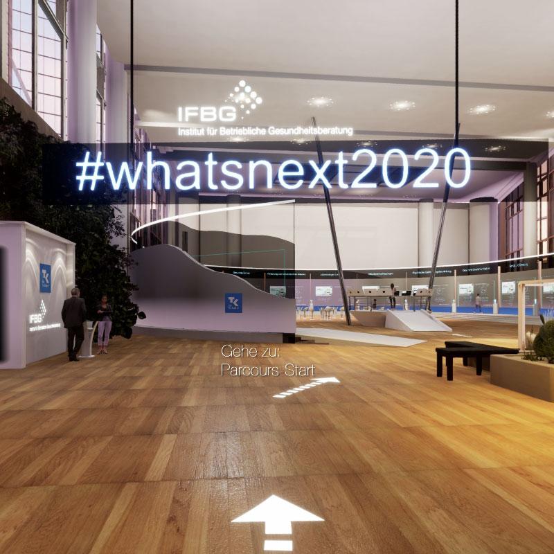Screenshot virtueller 3D Ergebniswelt zur #whatsnext2020 Studie (Virtual Tours), Maßnahmen in der Betrieblichen Gesundheitsförderung vom Institut für Betriebliche Gesundheitsberatung