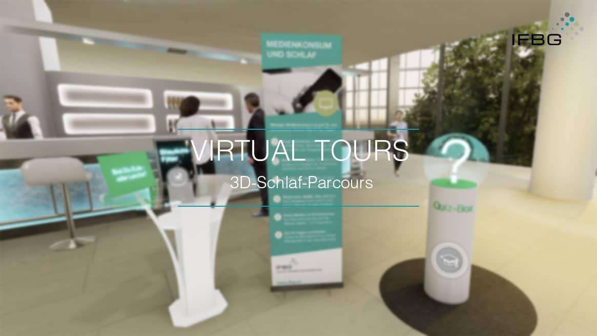 Screenshot virtueller 3D-Schlaf-Parcours des IFBG, Eingangshalle