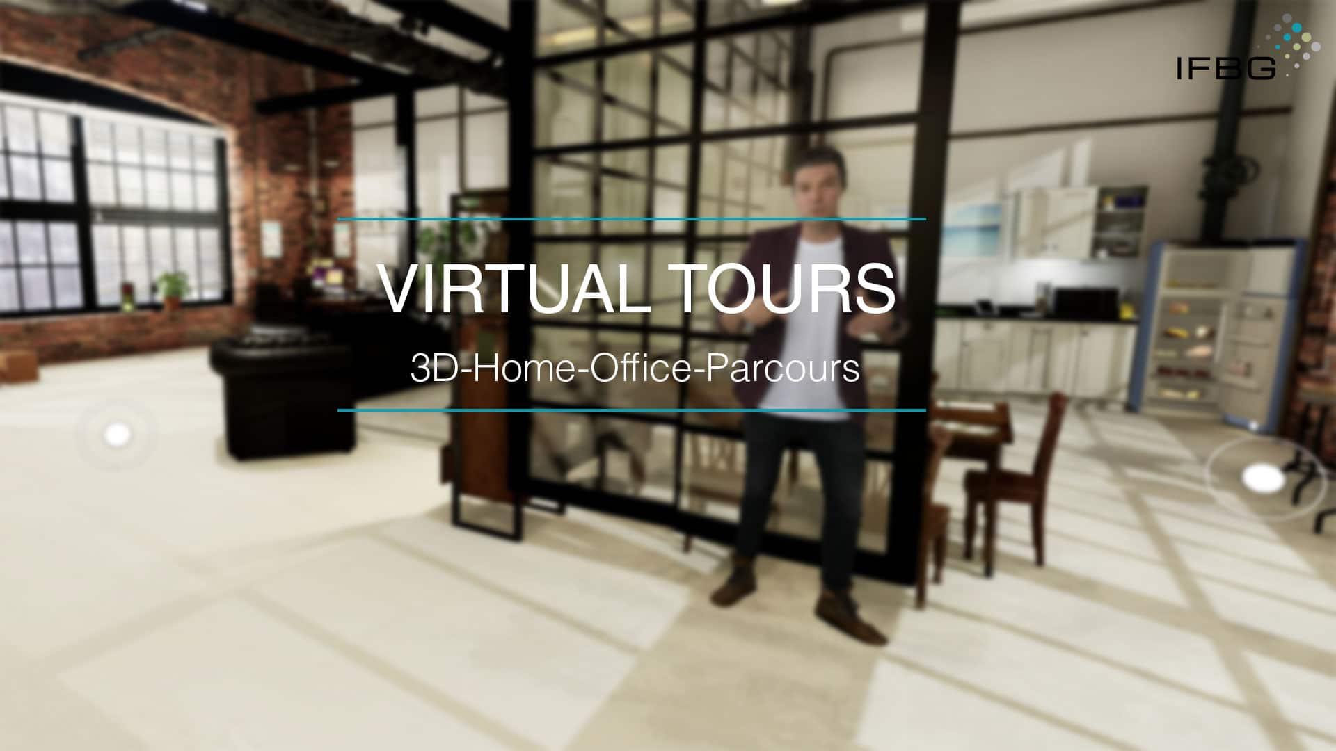 Screenshot virtueller 3D Home Office Parcours, Maßnahme im Betrieblichen Gesundheitsmanagement
